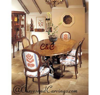 Curves & Carvings Signature Collection Dining Table Set - C&C DTC0007