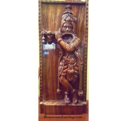 Curves an Carvings Teak Wood Krishna Statue