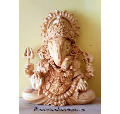 Curves and Carvings Teak Wood Ganesha STATUE WS0005