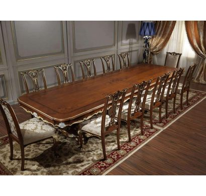 Curves and Carvings Classic Golden Royal Dining Table Set 0721
